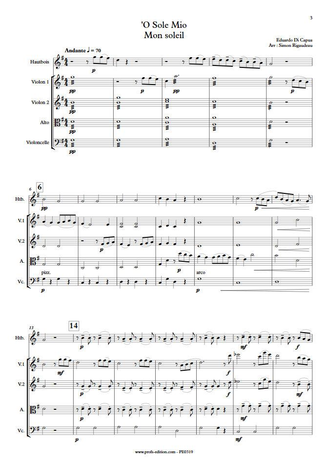 O Sole Mio - Hautbois et Quatuor à Cordes - Di CAPUA E. - app.scorescoreTitle