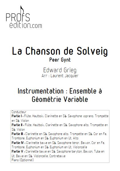 Chanson de Solveig - Ensemble à Géométrie Variable - GRIEG E. - page de garde
