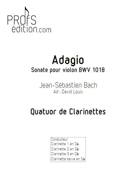Adagio Sonate BWV 1018 - Quatuor de Clarinette - BACH J. S. - page de garde