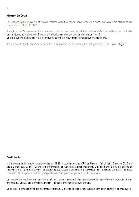 Adagio Sonate BWV 1018 - Quatuor de Clarinette - BACH J. S. - Fiche Pédagogique