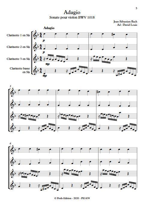 Adagio Sonate BWV 1018 - Quatuor de Clarinette - BACH J. S. - app.scorescoreTitle