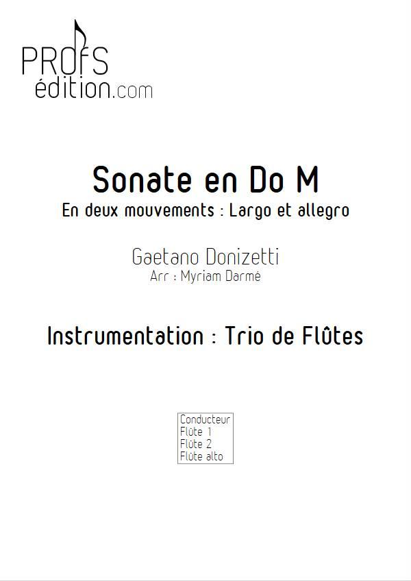 Sonate en Do Majeur - Trio de flûtes - DONIZETTI G. - page de garde