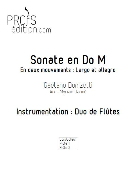 Sonate en Do Majeur - duo de flûtes - DONIZETTI G. - page de garde