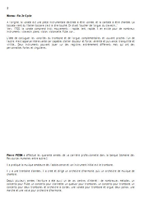 Sonate pour Trombone - Trombone & Orgue - PIZON P. - Fiche Pédagogique