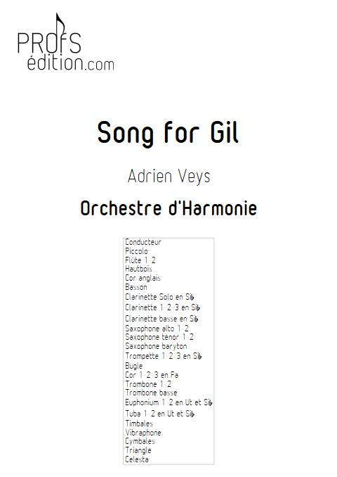 Song for Gil - Orchestre d'Harmonie - VEYS A. - page de garde