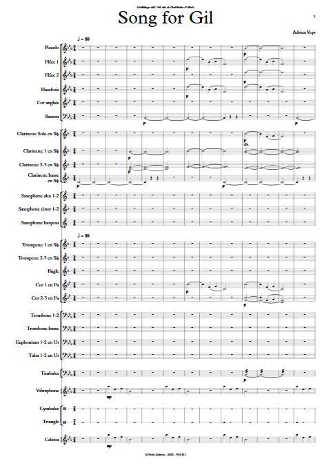 Song for Gil - Orchestre d'Harmonie - VEYS A. - Partition