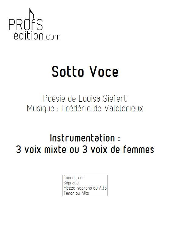 Sotto Voce - 3 voix mixtes - VALCLERIEUX F. - page de garde