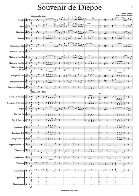 Souvenir de Dieppe - Orchestre d'Harmonie - BERIOT A. - Partition