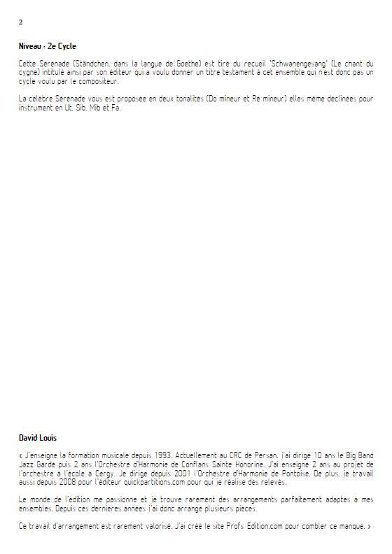 Ständchen - Piano/Instrument - SCHUBERT F. - Fiche Pédagogique