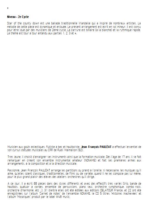 Star of the county down - Ensemble Variable - TRADITIONNEL IRLANDAIS - Fiche Pédagogique