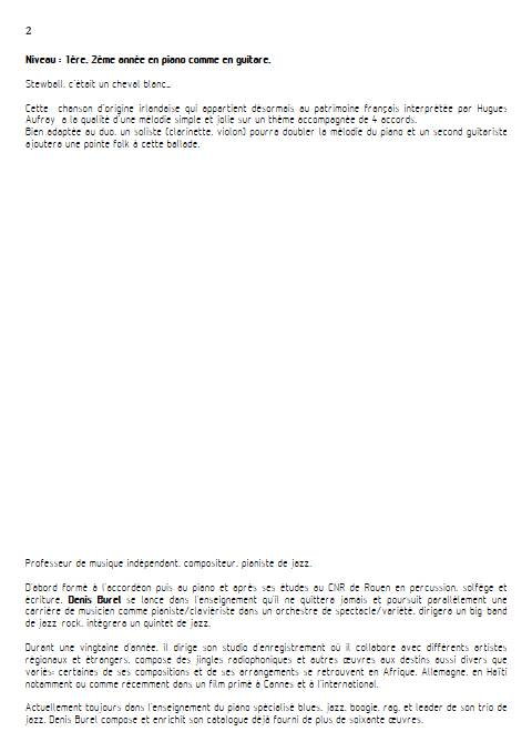 Stewball - Duo Guitare et Piano - AUFRAY H. BUREL Denis - Fiche Pédagogique