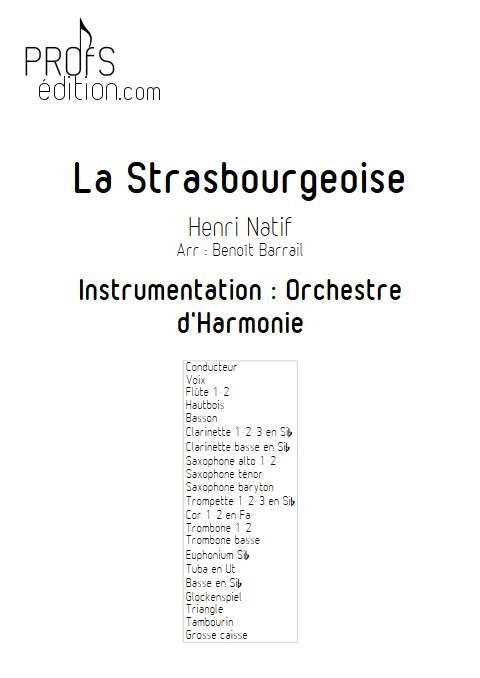 La Strasbourgeoise - Orchestre d'Harmonie - NATIF H. - page de garde