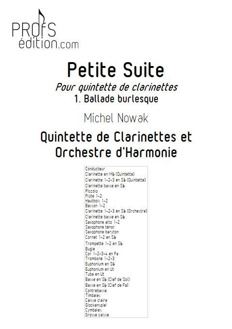 Petite Suite 1er Mouvement - Quinette de Clarintettes et Harmonie - NOWAK M. - page de garde