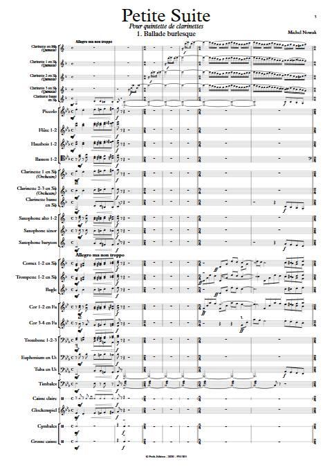 Petite Suite 1er Mouvement - Quinette de Clarintettes et Harmonie - NOWAK M. - app.scorescoreTitle