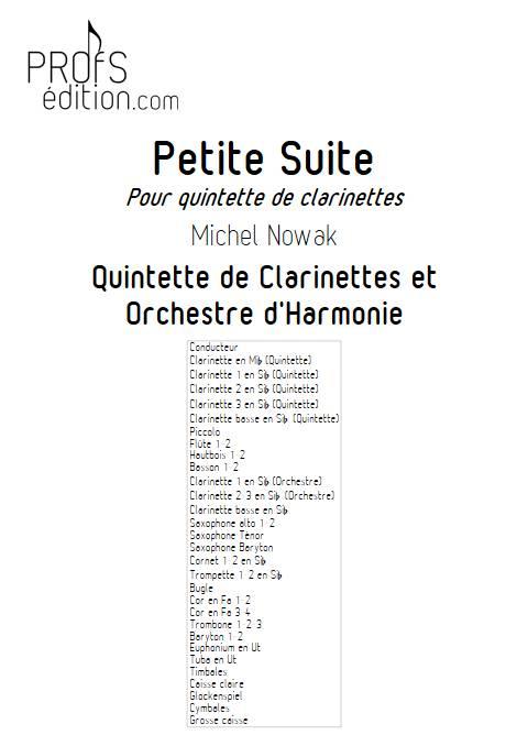 Petite Suite 2e Mouvement - Quintette de Clarintettes et Harmonie - NOWAK M. - page de garde