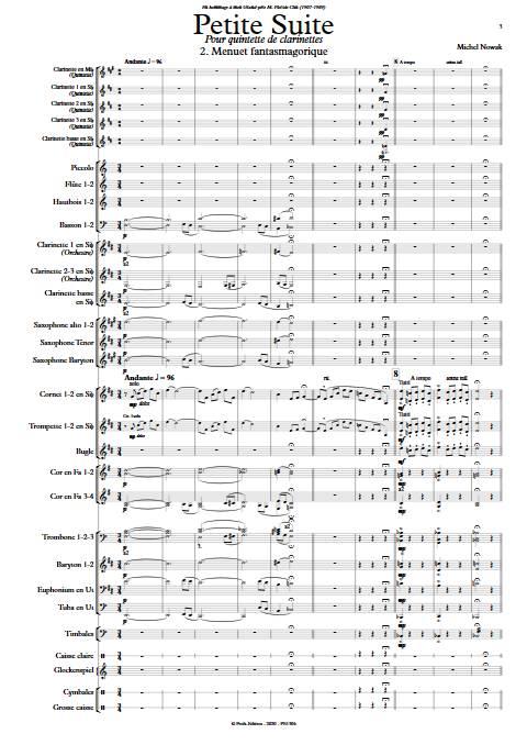 Petite Suite 2e Mouvement - Quintette de Clarintettes et Harmonie - NOWAK M. - app.scorescoreTitle