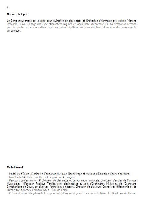 Suite pour Quintette de Clarinettes et Harmonie - 3e Mouvement - Quintette de Clarinettes & Harmonie - NOWAK M. - Fiche Pédagogique