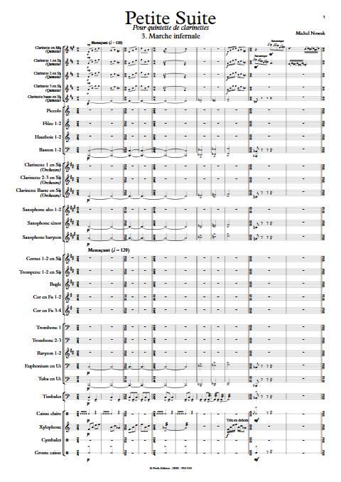 Suite pour Quintette de Clarinettes et Harmonie - 3e Mouvement - Quintette de Clarinettes & Harmonie - NOWAK M. - Partition