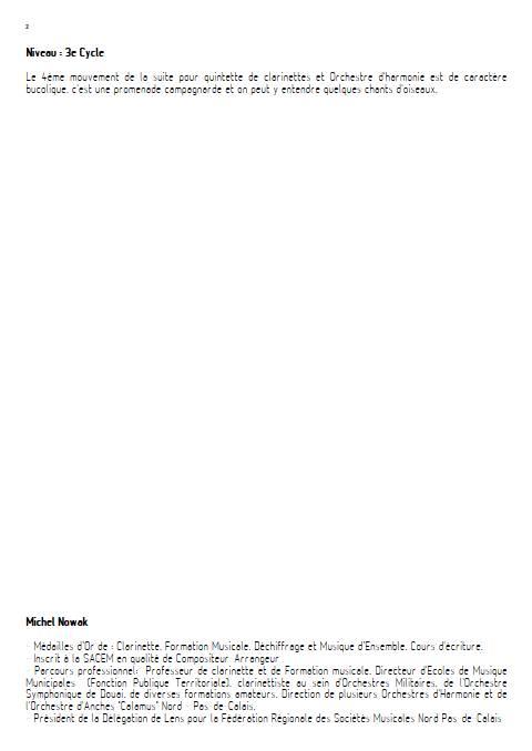 Suite pour Quintette de Clarinettes et Harmonie - 4e Mouvement - Quintette de Clarinettes & Harmonie - NOWAK M. - Fiche Pédagogique