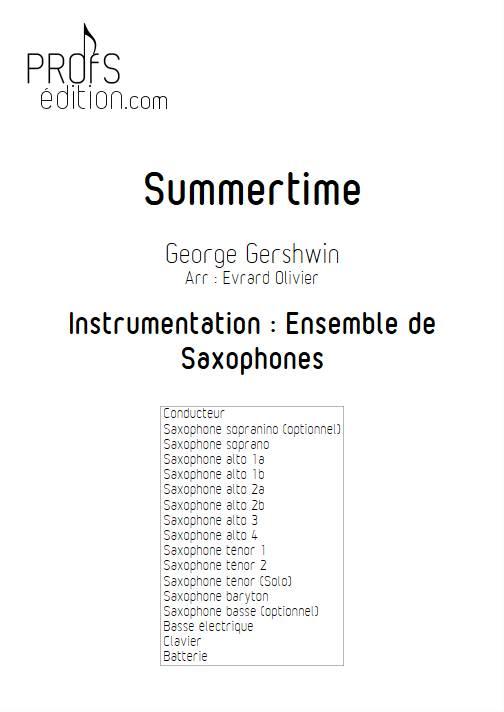Summertime - Ensemble de Saxophones - GERSHWIN G. - page de garde