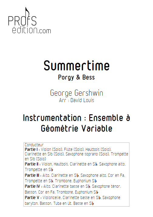 Summertime - Ensemble à Géométrie Variable - GERSHWIN G. - page de garde
