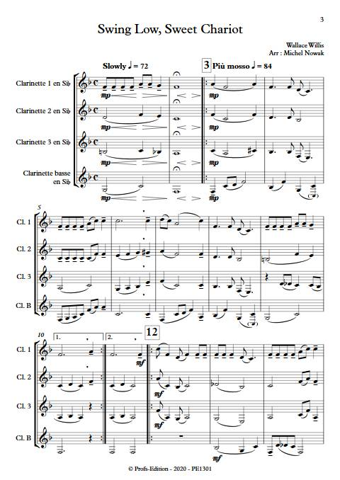 Swing Low Sweet Chariot - Quatuor de Clarinettes - WILLIS W. - app.scorescoreTitle
