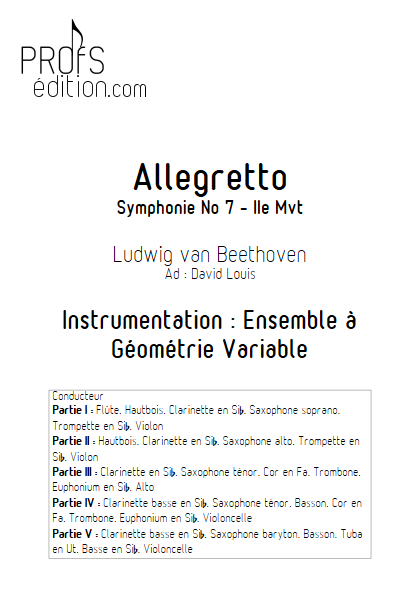 Allegretto (Symphonie n°7) -Ensemble à Géométrie Variable - BEETHOVEN L. V. - page de garde
