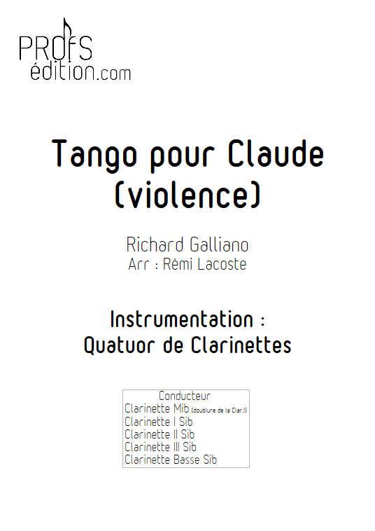Tango pour Claude - Quatuor de Clarinettes - GALLIANO R. - page de garde