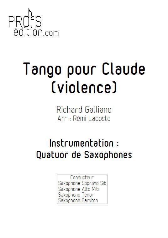 Tango pour Claude - Quatuor de Saxophones - GALLIANO R. - page de garde