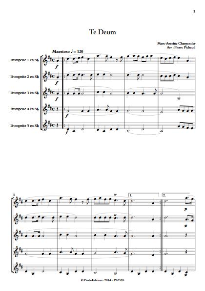 Te Deum - Quintette de Trompettes - CHARPENTIER M. A. - Partition