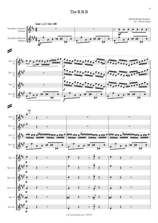 Bumble Bee Boogie (le vol du bourdon) - Quatuor et Ensemble de Saxophones - RIMSKY-KORSAKOV N. - Partition
