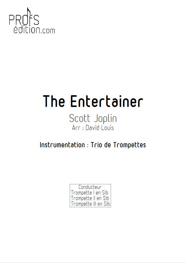 The Entertainer - Trio de Cuivres - JOPLIN S. - page de garde