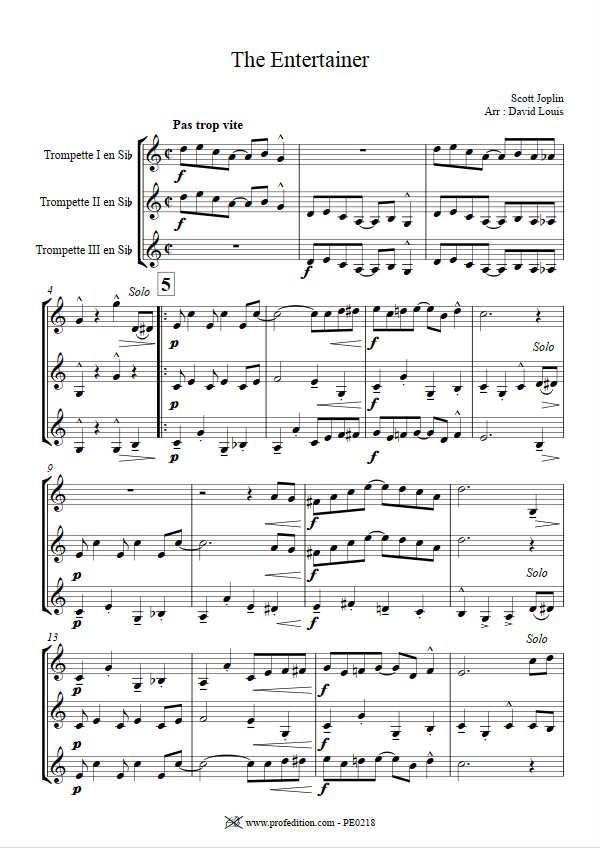 The Entertainer - Trio de Cuivres - JOPLIN S. - Fiche Pédagogique