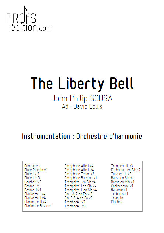 The Liberty Bell March - Orchestre harmonie - SOUSA J.P. - page de garde