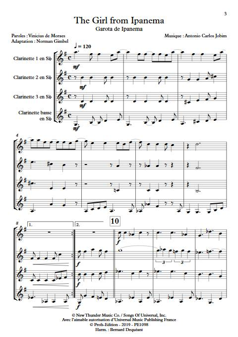 The girl from Ipanema - Quatuor de Clarinettes - JOBIM A. C. - app.scorescoreTitle