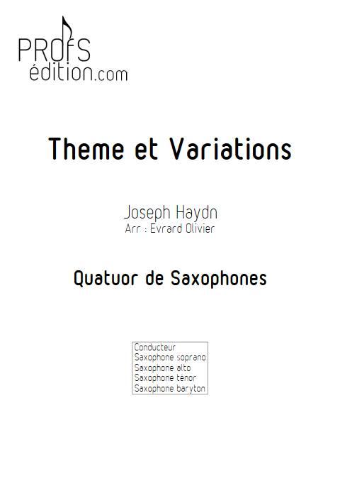Theme et variation Haydn - Quatuor de Saxophones - HAYDN J. - page de garde