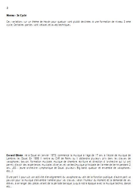 Theme et variation Haydn - Quatuor de Saxophones - HAYDN J. - Fiche Pédagogique
