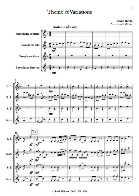 Theme et variation Haydn - Quatuor de Saxophones - HAYDN J. - Partition