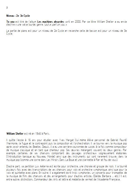 To You - Quatuor - SHELLER W. - Fiche Pédagogique