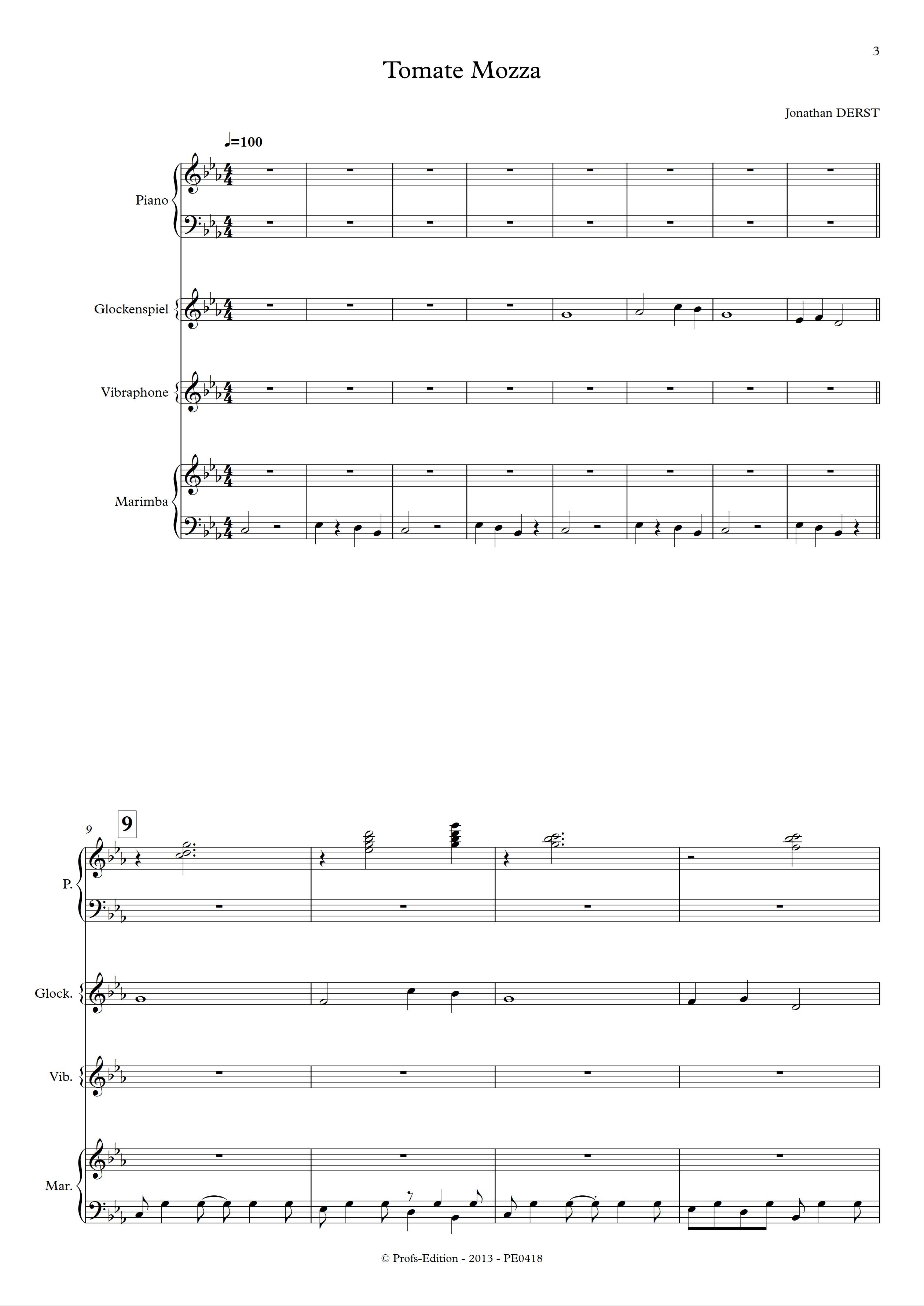 Tomate Mozza - Quatuor de Percussions - DERST J. - Partition