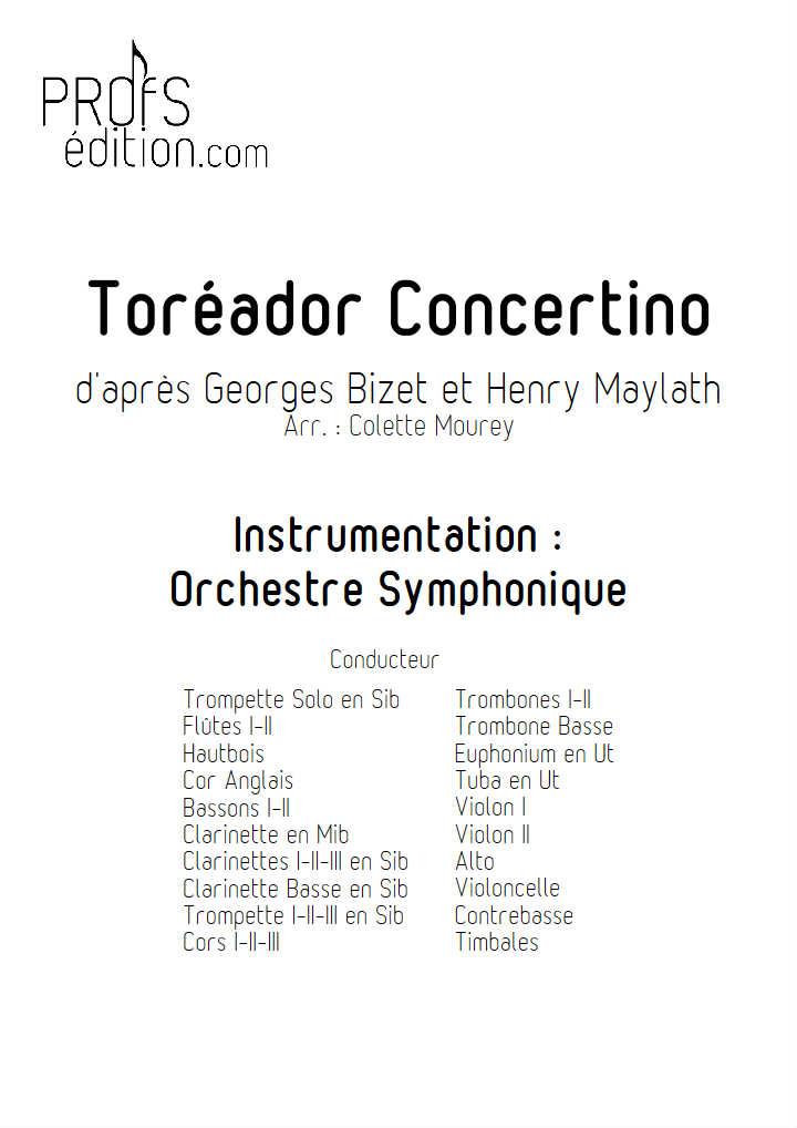 Toréador Concertino - Orchestre Symphonique - BIZET G. - page de garde