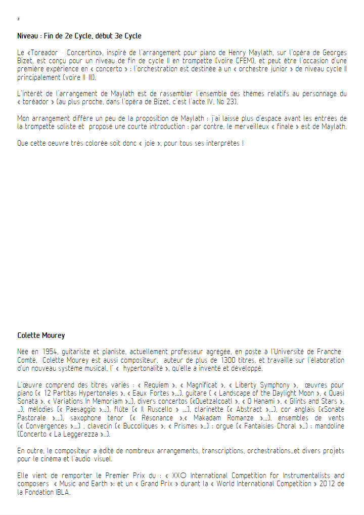 Toréador Concertino - Orchestre Symphonique - BIZET G. - Fiche Pédagogique