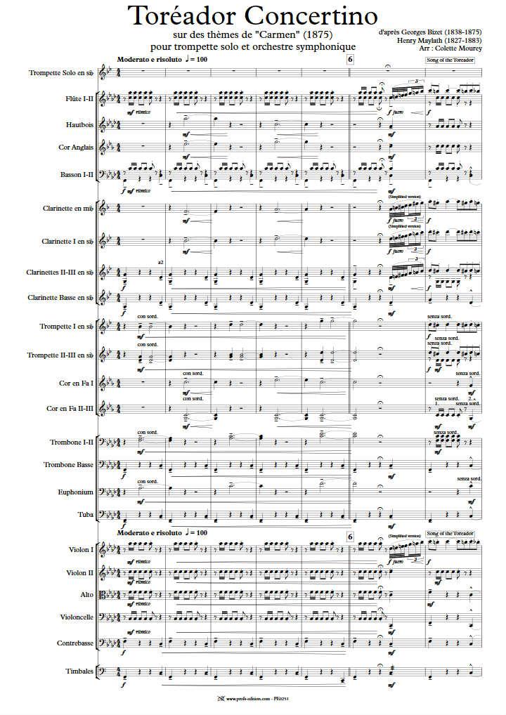 Toréador Concertino - Orchestre Symphonique - BIZET G. - Partition