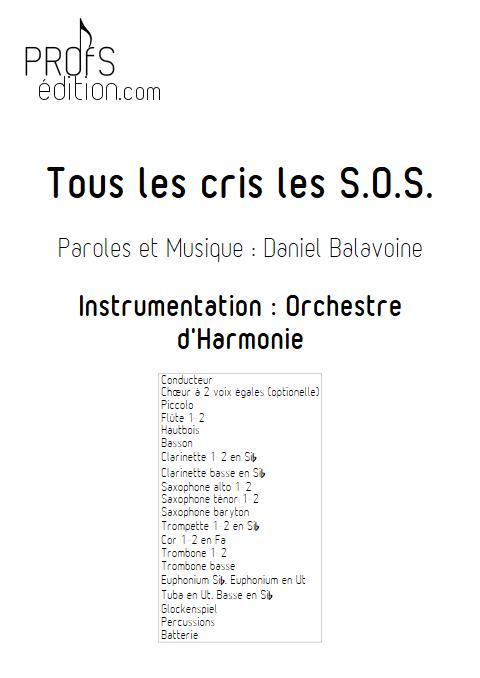 Tous les cris les SOS - Orchestre d'Harmonie - BALAVOINE D. - page de garde