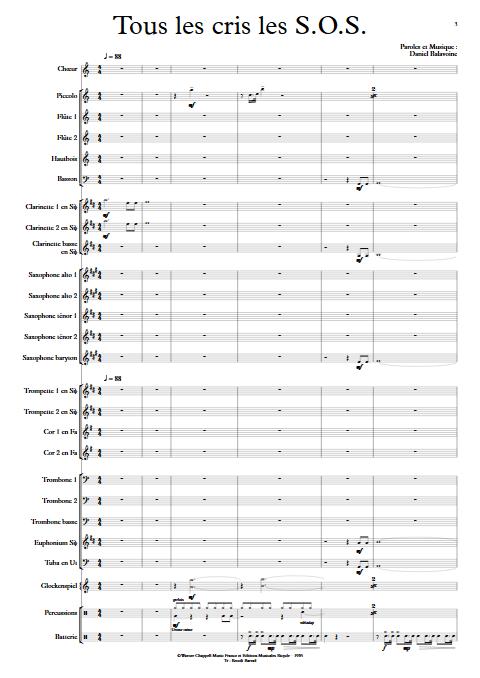 Tous les cris les SOS - Orchestre d'Harmonie - BALAVOINE D. - Partition