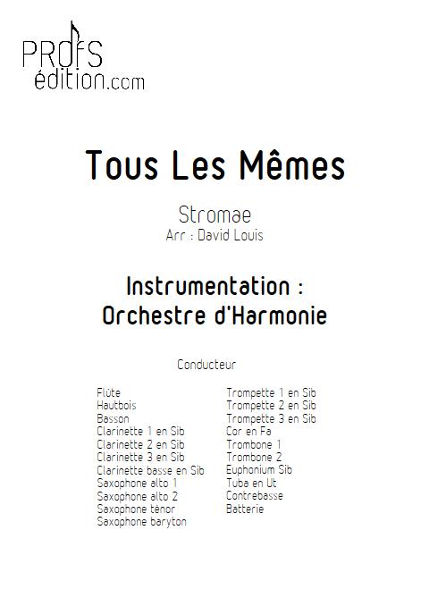 Tous les Mêmes - Orchestre d'Harmonie - STROMAE - page de garde