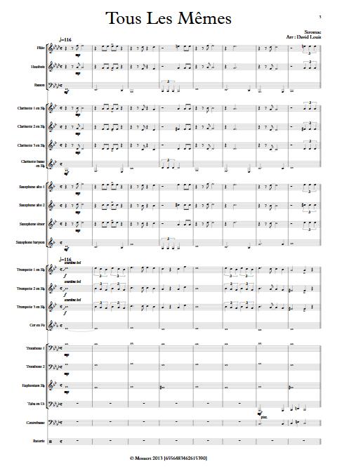Tous les Mêmes - Orchestre d'Harmonie - STROMAE - Partition