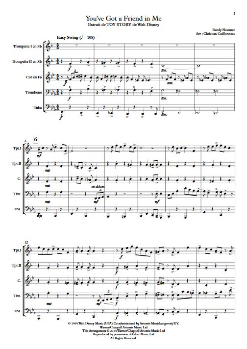 Toy Story (J'ai trouvé un ami) - Quintette de Cuivres - NEWMAN R. - app.scorescoreTitle
