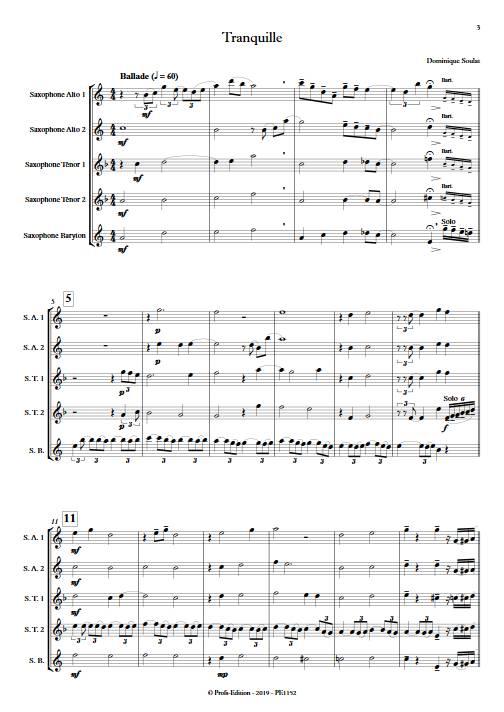 Tranquille - Quintette de Saxophones - SOULAT D. - Partition