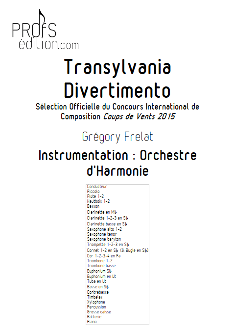 Transylvania Divertimento - Orchestre d'Harmonie - FRELAT G. - page de garde